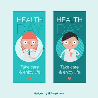 Banners dia da saúde com personagens divertidos e mensagem