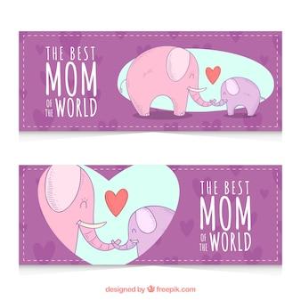 Banners dia de mãe com lindas elefantes