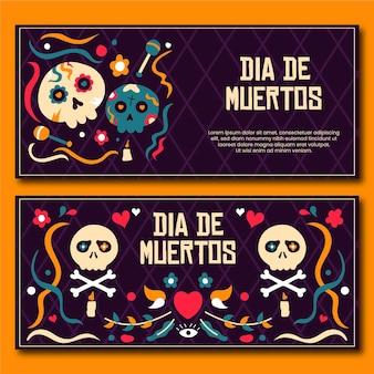Banners día de muertos em design plano