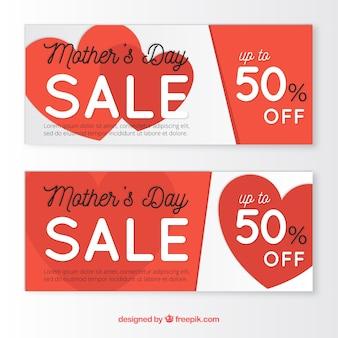Banners dia de venda de mãe com corações vermelhos
