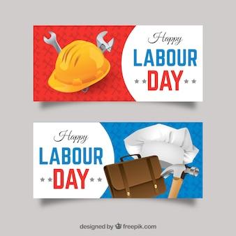 Banners dia do trabalhador com ferramentas