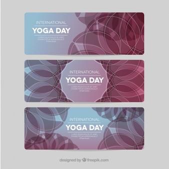 Banners dia internacional yoga embalar