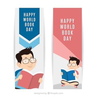 Banners dia mundial do livro com leitura do menino no design plano