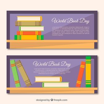 Banners dia mundial do livro com livros coloridos em design plano