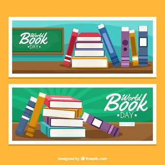 Banners dia mundial do livro com livros em design plano