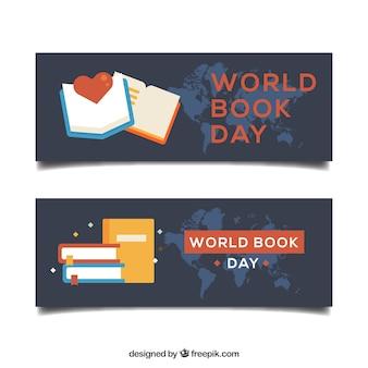 Banners dia mundial do livro em design plano
