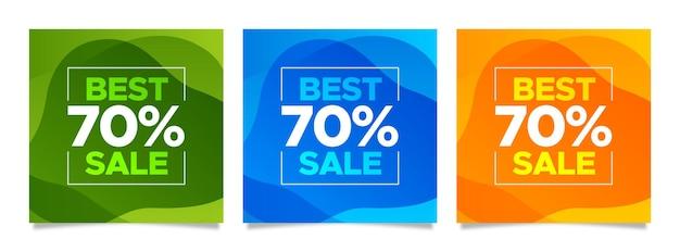 Banners dinâmicos de venda quadrados coloridos abstratos definidos para postar no instagram na web e nas redes sociais