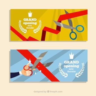 Banners divertidos de inauguração com design plano