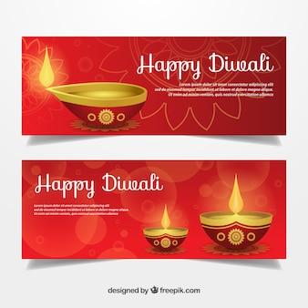 Banners diwali com lâmpadas de óleo