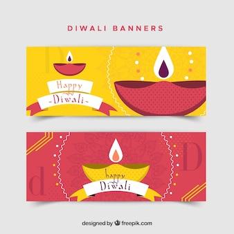 Banners diwali com lindas lâmpadas de óleo
