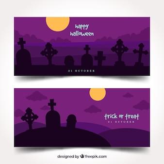 Banners do cemitério roxo