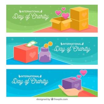 Banners do dia da caridade com caixas de presente