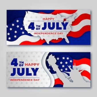 Banners do dia da independência com bandeiras