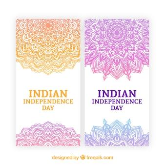Banners do dia da independência de india com mandala laranja e roxo