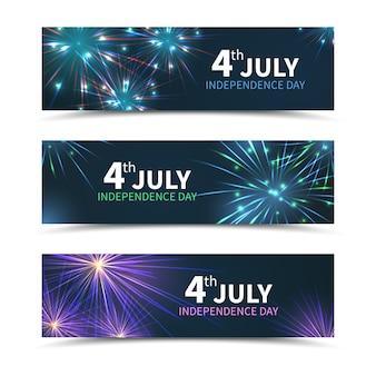 Banners do dia da independência dos eua com fogos de artifício. dia americano, feriado da américa, celebração, julho, liberdade nacional, ilustração vetorial