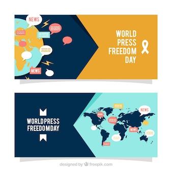 Banners do dia da liberdade de imprensa mundial