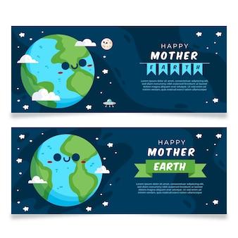 Banners do dia da mãe terra com planeta bonitinho