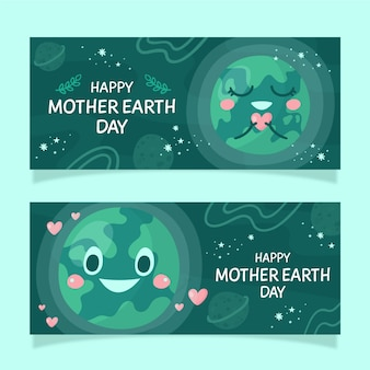 Banners do dia da mãe terra desenhados à mão
