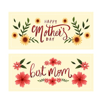 Banners do dia das mães em aquarela