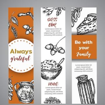 Banners do dia de ação de graças