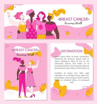 Banners do dia de conscientização do câncer de mama com abraços de mulheres