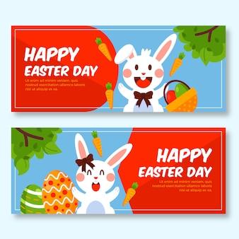 Banners do dia de páscoa com coelho e cenoura