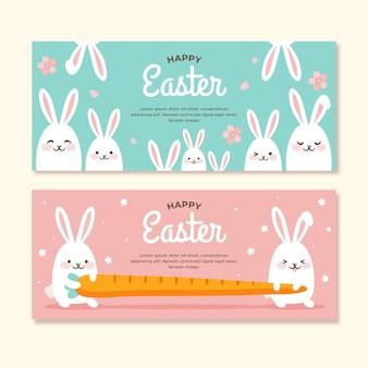 Banners do dia de páscoa com coelhos
