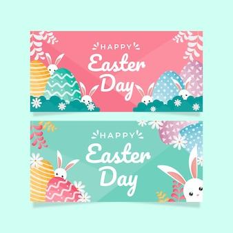 Banners do dia de páscoa com ovos coloridos