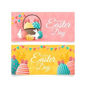 Banners do dia de páscoa com ovos e coelho