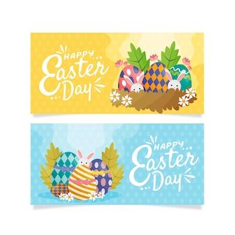 Banners do dia de páscoa com ovos