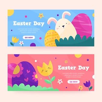 Banners do dia de páscoa em design plano
