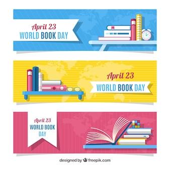 Banners do dia do livro mundial em design plano