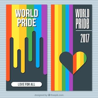 Banners do dia do orgulho no design plano