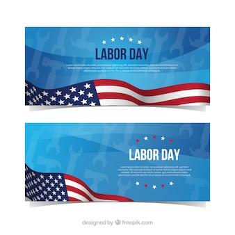 Banners do dia do trabalho clássico com design plano