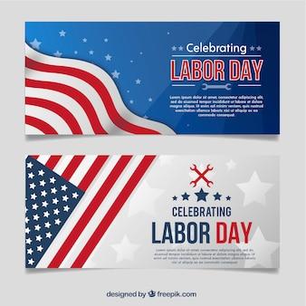 Banners do dia do trabalho com a bandeira americana