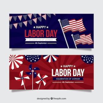 Banners do dia do trabalho com bandeiras americanas