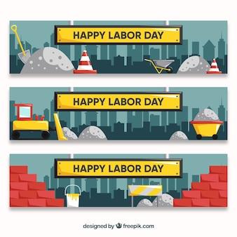 Banners do dia do trabalho com canteiro de obras