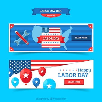 Banners do dia do trabalho com design plano