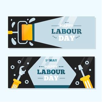 Banners do dia do trabalho de design plano