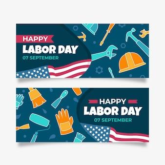 Banners do dia do trabalho desenhados à mão