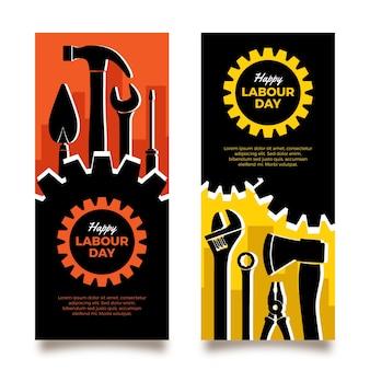 Banners do dia do trabalho em design plano