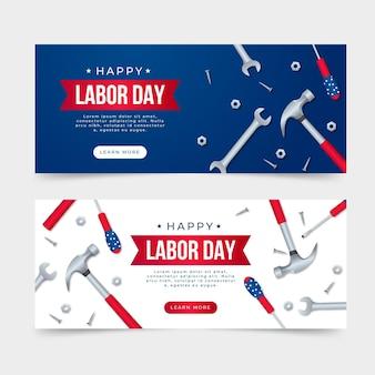 Banners do dia do trabalho realista (eua)