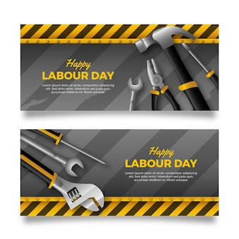 Banners do dia do trabalho realista