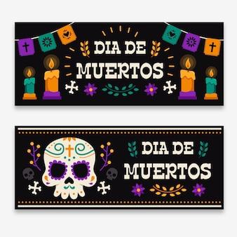 Banners do dia dos mortos com caveira