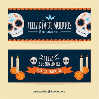 Banners do dia dos mortos com caveiras e velas