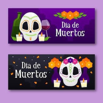 Banners do dia dos mortos com crânios fofos