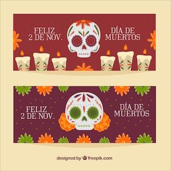 Banners do dia dos mortos do crânio mexicano