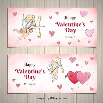 Banners do dia dos namorados da aguarela