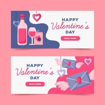 Banners do dia dos namorados desenhados à mão