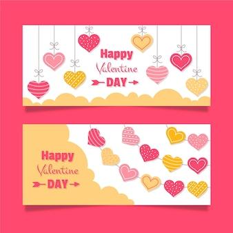 Banners do dia dos namorados em design plano